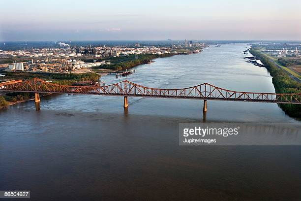 Aerial view of river in Baton Rouge, Louisiana