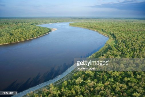 Aerial view of river in Lafayette, Louisiana