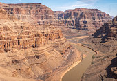 Aerial View of River inside the Grand Canyon From Helicopter
