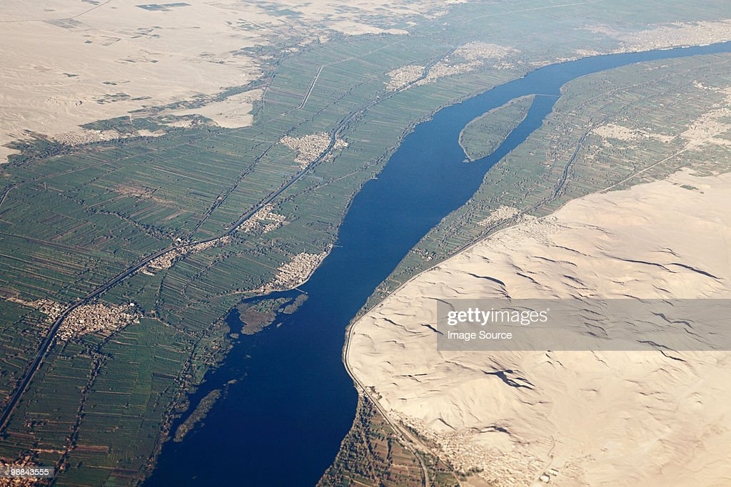 Aerial view of river nile near aswan