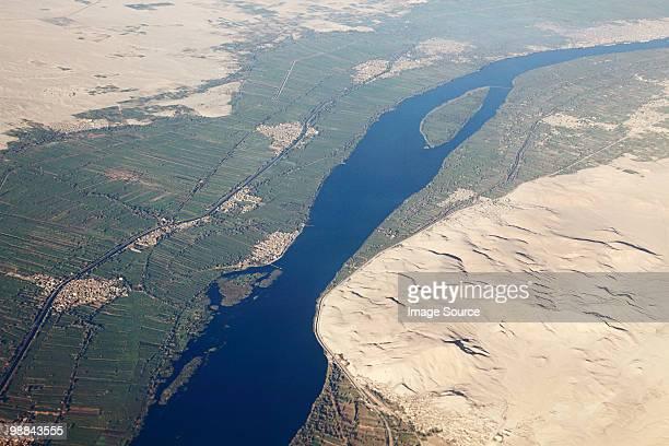 Aerial view of river nile near aswan