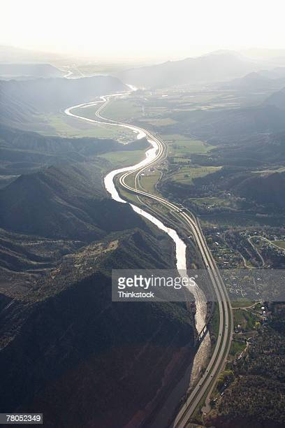 Aerial view of river through the Rocky Mountains