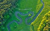 Aerial view of river valley in beautiful sunset light, Czech republic, Europe