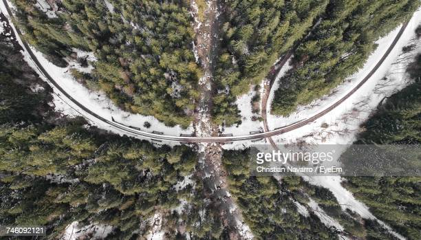 Aerial View Of Road Amidst Trees Growing On Mountain