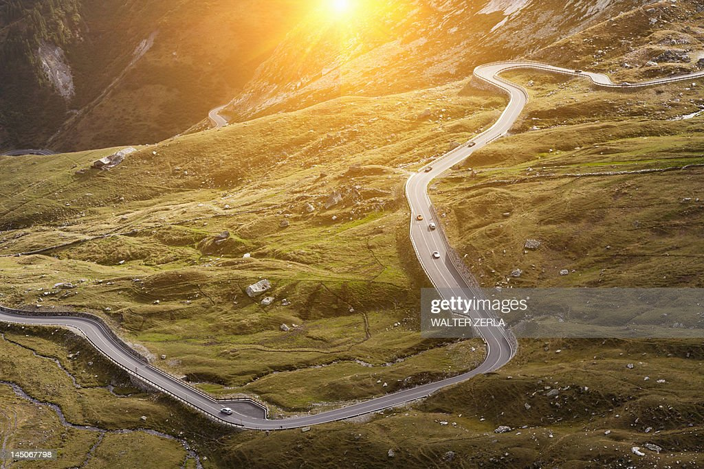 Aerial view of road in rural landscape : Stock Photo