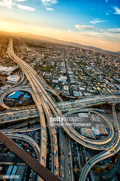 Aerial view of road interchanges at dusk