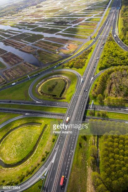 Aerial view of road junction in Polder Holland Netherlands