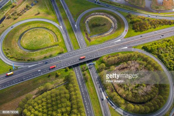 Aerial view of road junctions, near Amsterdam