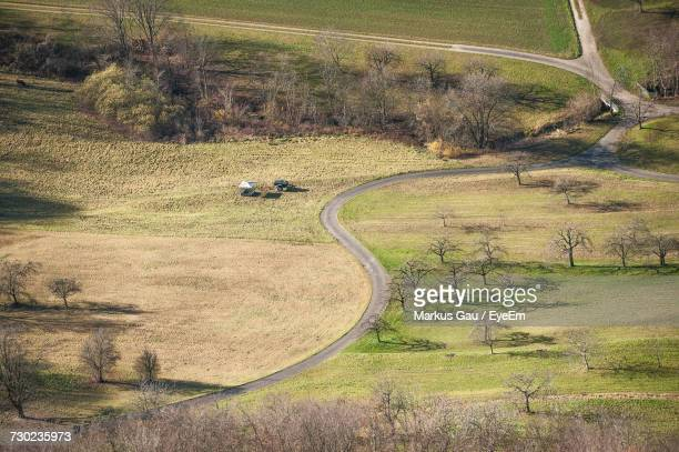 Aerial View Of Road On Field