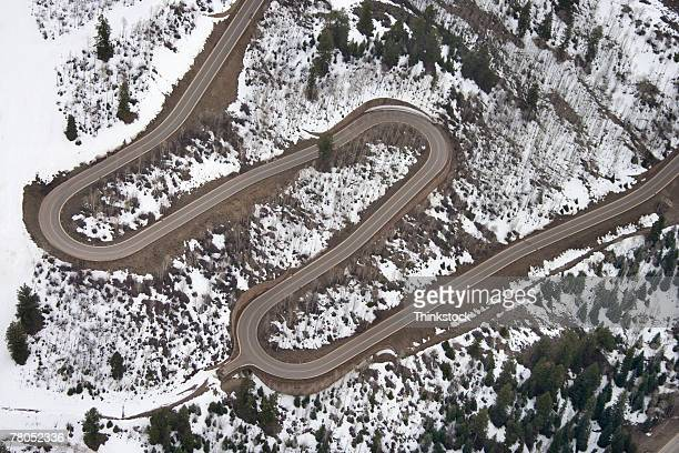 Aerial view of road through the Rocky Mountains