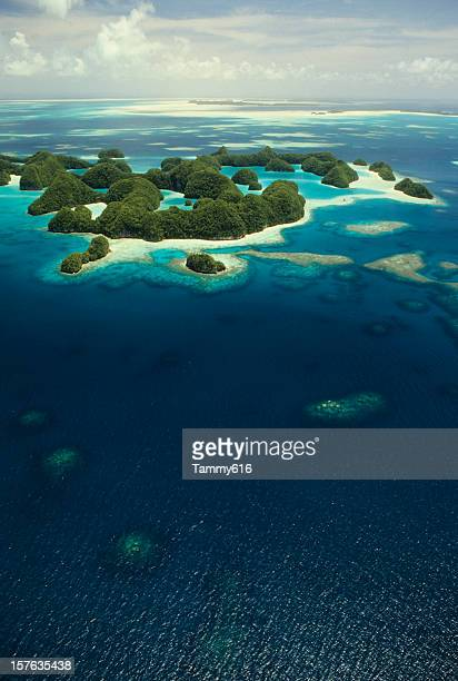 Aerial view of Rock Islands, Palau in Micronesia