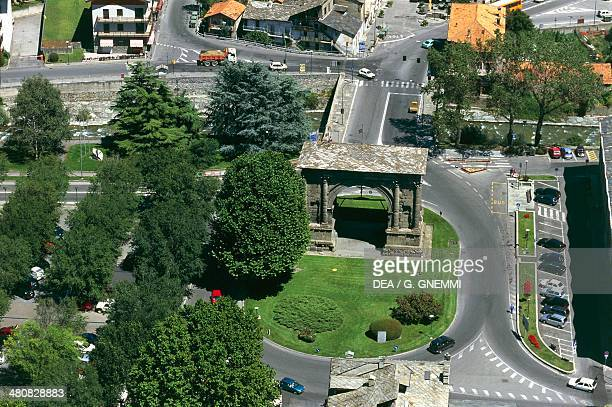 Aerial view of Roman Arch of Augustus at Aosta Valle d'Aosta Region Italy