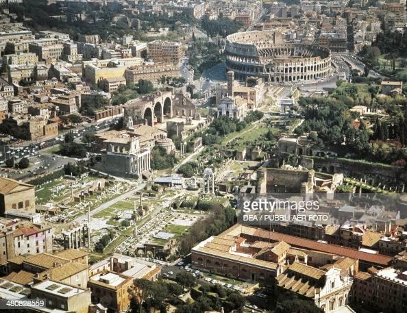 Aerial view of Roman Forum and Flavian amphitheater Colosseum in Rome Lazio Region Italy