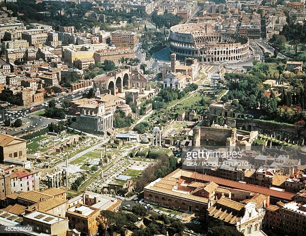 Aerial view of Roman Forum and Flavian amphitheater Colosseum in Rome Lazio Region Italy