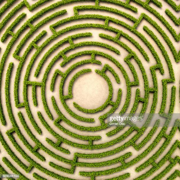 Aerial view of round hedge maze with route to centre