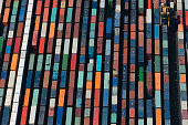 Aerial view of rows cargo containers, Port Melbourne, Melbourne, Victoria, Australia