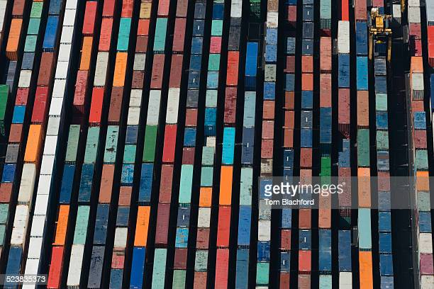 Aerial view of rows cargo containers, Port Melbourne, Melbourne, Victoria, Australia