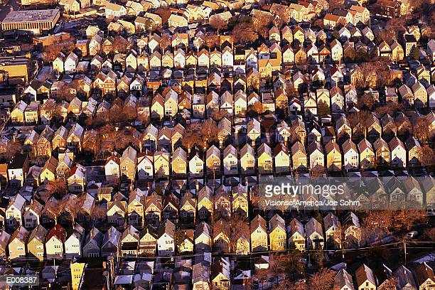 Aerial view of rows of rooftops