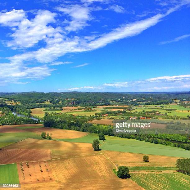 Aerial view of rural landscape, Lot, France