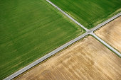 Aerial view of rural roads intersecting