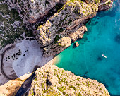 Aerial view of Sa Calobra beach in Mallorca - Spain