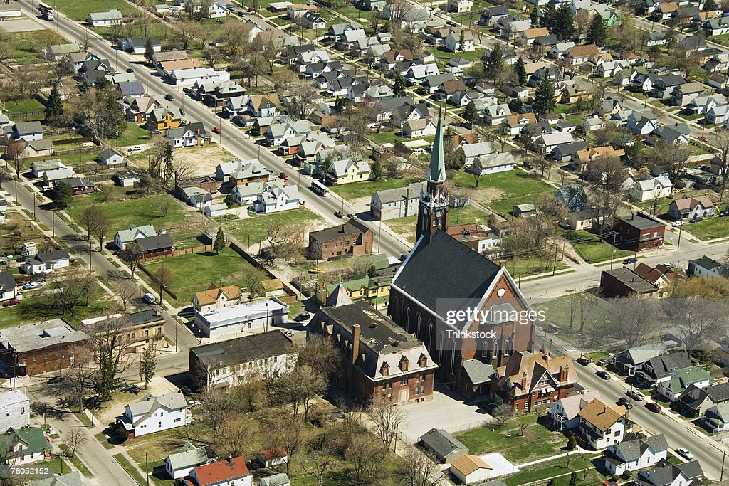 Aerial view of Saint Anthony's Church, Toledo, Ohio