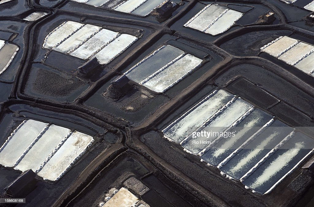 aerial view of salt flats near Bima, Sumbawa, West Nusa Tenggara, Eastern Indonesia.