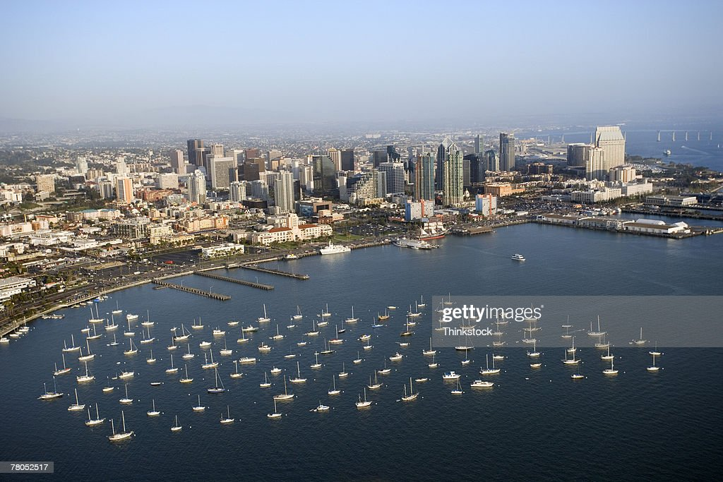 Aerial view of San Diego Bay, California