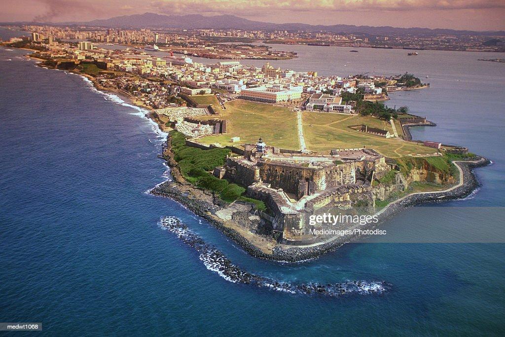 Aerial view of San Felipe Fort in San Juan, Puerto Rico