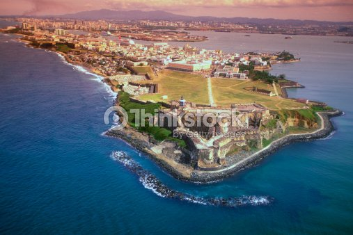 aerial view of san felipe fort in san juan puerto rico ストック