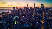 Aerial cityscape view of San Francisco at Dawn, California, USA