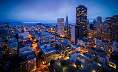 Aerial view of San Francisco Skyline at Night, California, USA