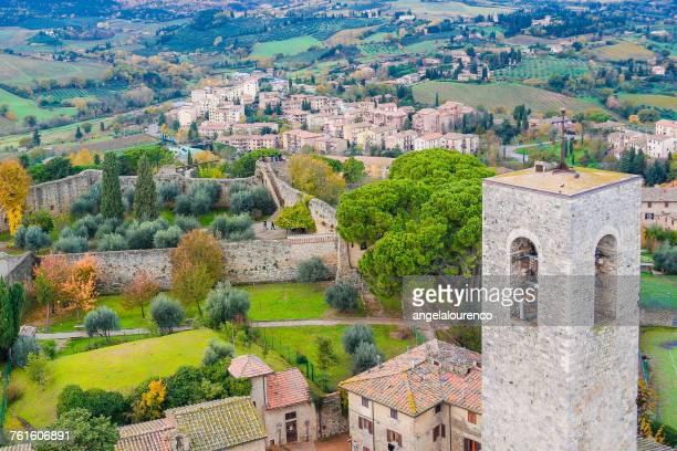 Aerial View of San Gimignano, Siena, Tuscany, Italy