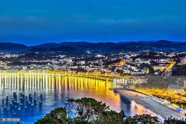 Aerial View Of San Sebastian Donostia City Spain During Blue Hour