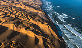 Aerial View of Sand Dunes and Ocean