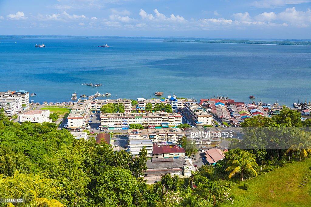Aerial view of Sandakan and Sulu Sea