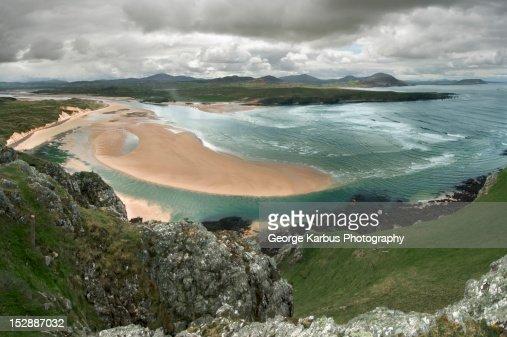 Aerial view of sandbar on beach