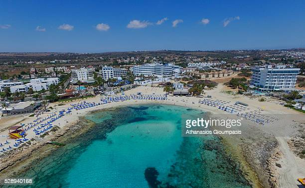 Aerial view of Sandy Bay on April 29 2016 in Ayia Napa Cyprus Sandy Bay has fine white sands and gently shelving waters It is popular with families...