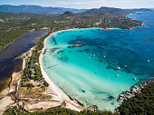 Aerial  view  of Santa Giulia beach in Corsica Island in France