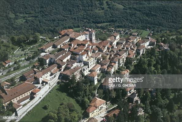 Aerial view of Santa Maria del Monte on the Sacro Monte di Varese Lombardy Region Italy