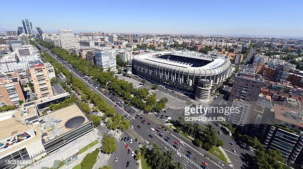 Aerial view of Santiago Bernabeu Stadium of Real Madrid from the top of the Europa Tower in Madrid on September 12 2013 AFP PHOTO / GERARD JULIEN