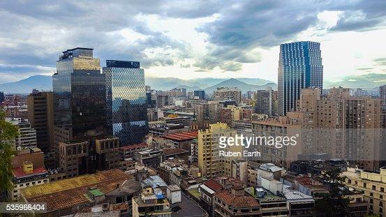 Aerial view of Santiago de Chile city center : Stock Photo