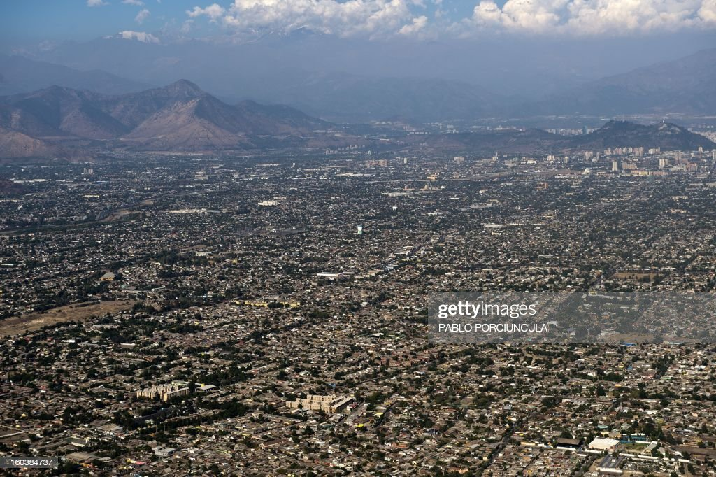 Aerial view of Santiago de Chile city on January 29, 2013