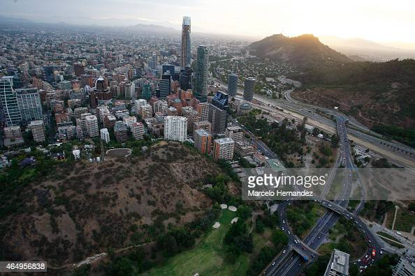 Aerial view of Santiago de Chile on February 14 2015 in Santiago de Chile Chile Santiago will be one of the eight host cities of the next Copa...