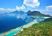 Scenic View of Bohey dulang in Tun Sakaran Marine Park tropical islands Semporna, Sabah Borneo Malaysia. Bohey dulang is an ancient volcano located in Borneo island. The surrounding area is famous for