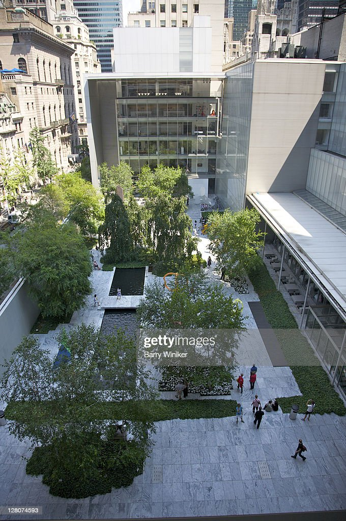 Aerial view of sculpture garden at The Museum of Modern Art, New York, NY