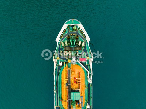 Aerial View Of Sea Freight Greenyellow Oil Tanker Ship Lpg Cng At
