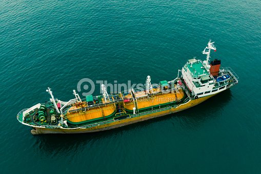 Aerial View Of Sea Freight Greenyellow Oil Tanker Ship Lpg