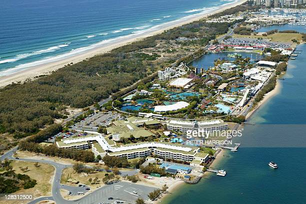 Aerial view of Sea World, Queensland, Australia