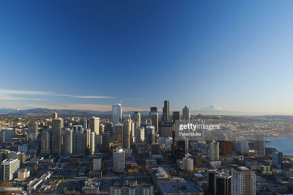 Aerial view of Seattle city skyline : Stock Photo
